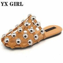 Неделя моды знаменитости заклепки Дамские тапочки полые сандалии на плоской подошве женские модные уличные тапочки летняя обувь Большие размеры 11