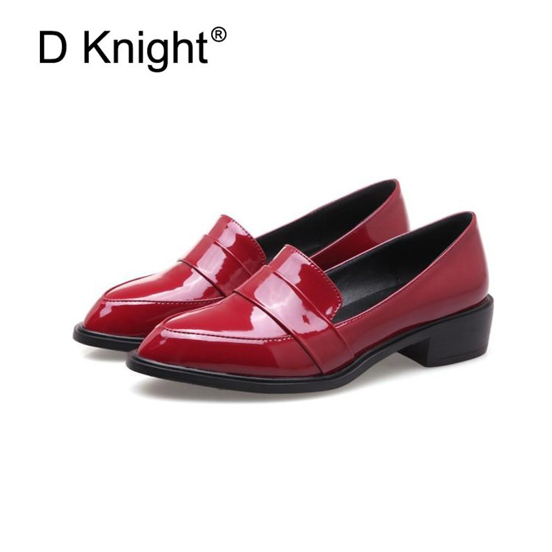 Large Size 32-43 Lady Casual Flat Loafers Shoes Fashion Patent Leather Pointed Toe Women's Flats British Black Red Women Oxfords (3)
