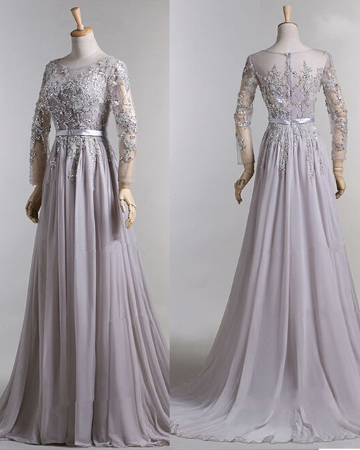 2015 New Beaded Gray Chiffon Arabic Muslim Long Sleevs Evening Dress