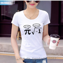 2017 Fashion New Women T Shirts Funny Math Formula Print Tee Shirt Cotton Slim Short Sleeve Fitness Camisetas Dresses For Girls