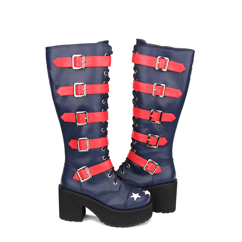 Bout Bleu Chaussures Lolita 46 Arrivée Plate Nouvelle Style Légales forme Pu Rond En Bottes Cuir Punk Taille Hautes Mentions Genou Angéliques Étoiles 35 qTBnU0g