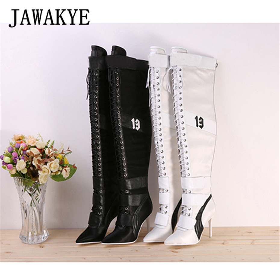 New Designer Patchwork Lace Up Thigh high boots for Women pointy toe High heels leather long boots Over the knee knight boots round toe over the knee boots british style good leather mixed color knight boots patchwork thigh high boots