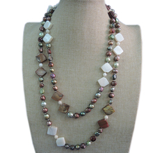 100% NATURE FRESHWATER PEARL NECKLACE,120 CM ,very fashion colors pearls,near round shape pearl