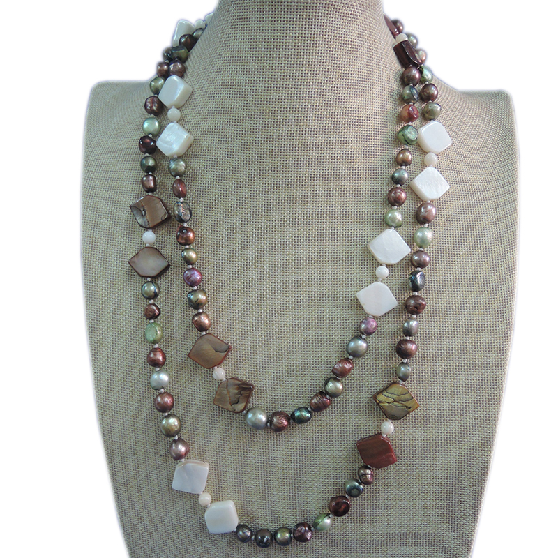 100% NATURE FRESH-WATER PERLE COLLIER, 120 CM, très mode couleurs perles, nearround forme perle