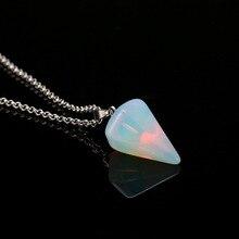 """5 цветов натуральный кристалл кварца исцеляющая энергия точка Рейки чакра вырезанная Подвеска из драгоценных камней ожерелье с 17,"""" металлическая цепь Топ"""