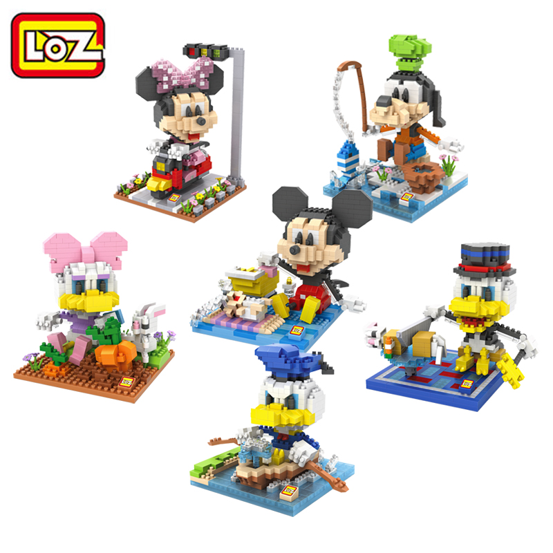 LOZ Diamond Building Blocks Cartoon 6 Styles Action Figure Children's Toy DIY Assemble Toys Present Gift for Kids loz 280pcs l 9522 deadpool action figure building block educational diy toy