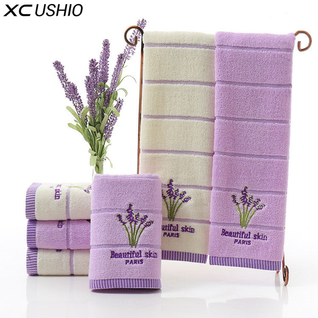 XC USHIO One Piece High Quality 100% Cotton 34*75cm Lavender Face Towel Soft Absorbent Romatic Lovers Towel Gift Bath Accesory