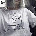 Женщин тенниски 1975 Письма Печати Хлопок Повседневная Тонкий Забавный рубашка Для Леди Белый Топ Ти Битник Harajuku Плюс Размер Топы H686