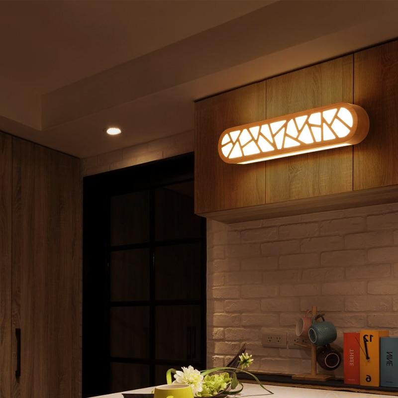 Simple wooden mirror wall light Nordic Chinese style study makeup lamp corridor balcony wall lamp Japanese wall lights ZA MZ81 2017 balcony mini led light nordic style black