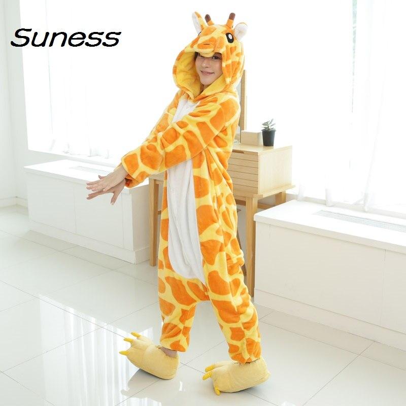 302a7bcb7d new funny animal giraffe women s Pajama Sets Autumn Winter couple  nightgowns Onesie Sleepwear for child Cartoon Cosplay pyjama