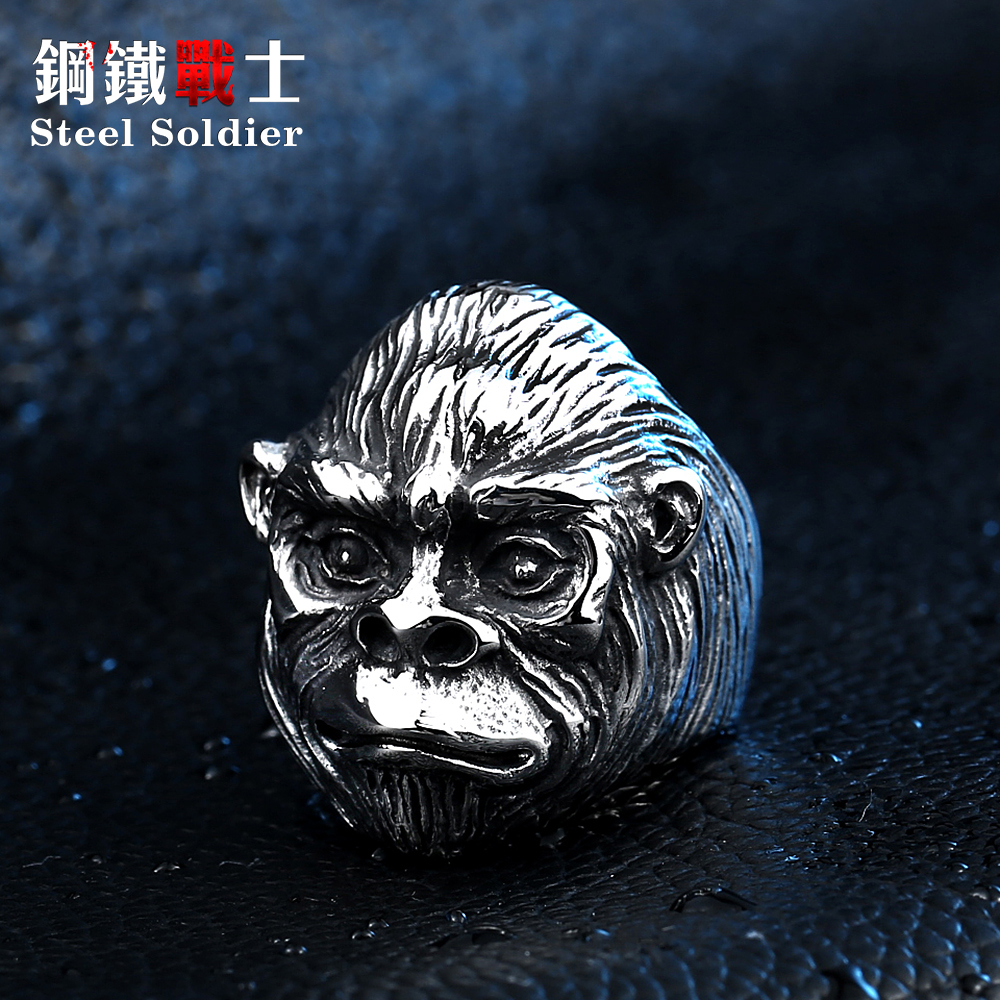Steel soldier money king punk men ring stainless steel fashion special jewelry