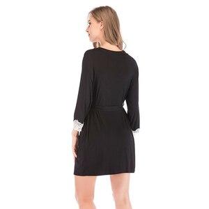 Image 3 - 2020 夏の女性の着物ローブ Soild パジャマナイトウェア女性ソフトモーダルカジュアル浴衣ベルトエレガントなバスルームスパローブ