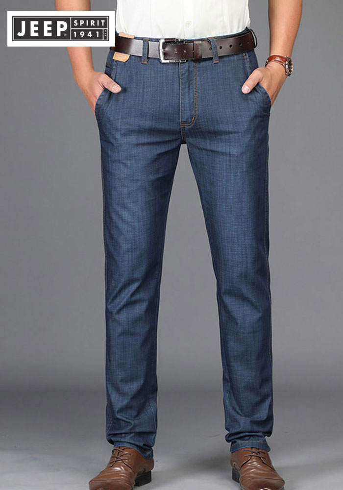 2019 Summer JEEP Brand Cotton   Jeans   Elastic Men's Casual Full Length Retro   Jeans   Cotton Pants Fashion Lightweight Trousers 44