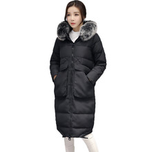 Women's Down Jacket Oversized Coats Fur Collar Parka Plus Size 4XL Winter Coat Women Hood Long Jacket Female,Manteau Femme C2452