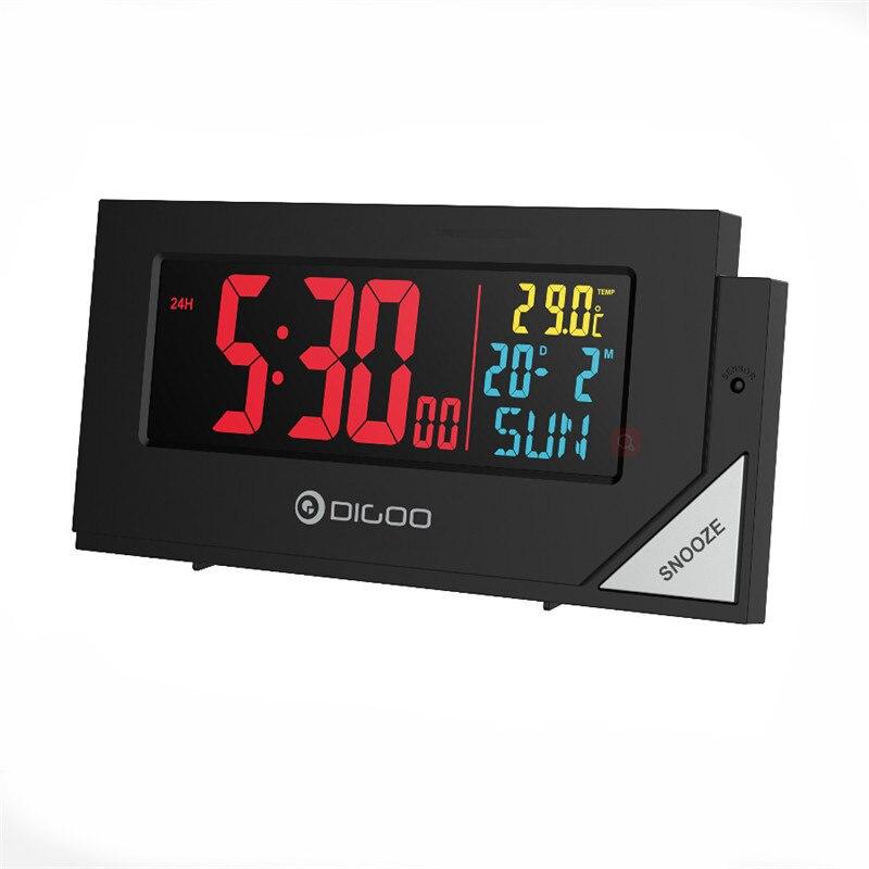 Digoo DG-C8 C8 Wireless Full Color Digital Backlight Electronical Desk Bedroom Temperature Sensor Alarm Clock with Light Sensor led backlight lazybones alarm clock with photosensitive sensor