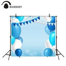 Allenjoy Fotografie Achtergrond Blauwe Stippen Vlaggen Ballon Party Verjaardag Photobooth Photo Studio Pasgeboren Originele Ontwerp