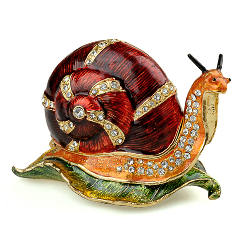 Red snail bejeweled Trinket Box decorative Collectible metal jewelry