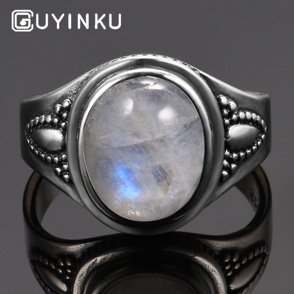 GUYINKU Real Pure 925 Sterling Silver Rainbow Natural Gemstone Rings For Women Men Vintage Fine Jewelry Hot Sale Party Ring Gift