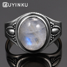 GUYINKU Real Pure 925 Sterling Silver Rainbow Natural Gemstone Rings For Women Men Vintage Fine Jewelry Hot Sale Party Ring Gift цена