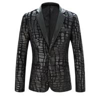 2016 Spring Mens Plus size Suit Blazers Male Quality Velvet Leather Slim suit Singer dancer Cool performance outwear