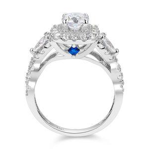 Image 3 - Newshe 2 Pcs Halo 925 Sterling Anelli di Nozze Dargento Per Le Donne 1.5 Ct Pear Cut AAA CZ Dei Monili Classici anello di fidanzamento Set