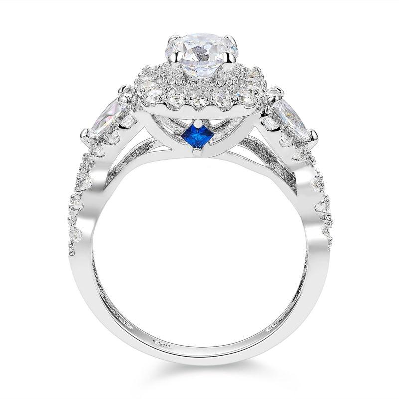 Newshe 2 st Halo 925 Sterling Silver Bröllop Ringar För Kvinnor 1.5 - Märkessmycken - Foto 3