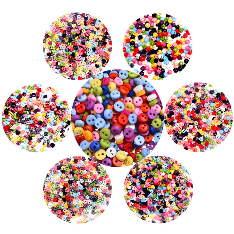 200pcs Heart Mixed Colors Resin Buttons Fit Sewing or Scrapbooking 10mm