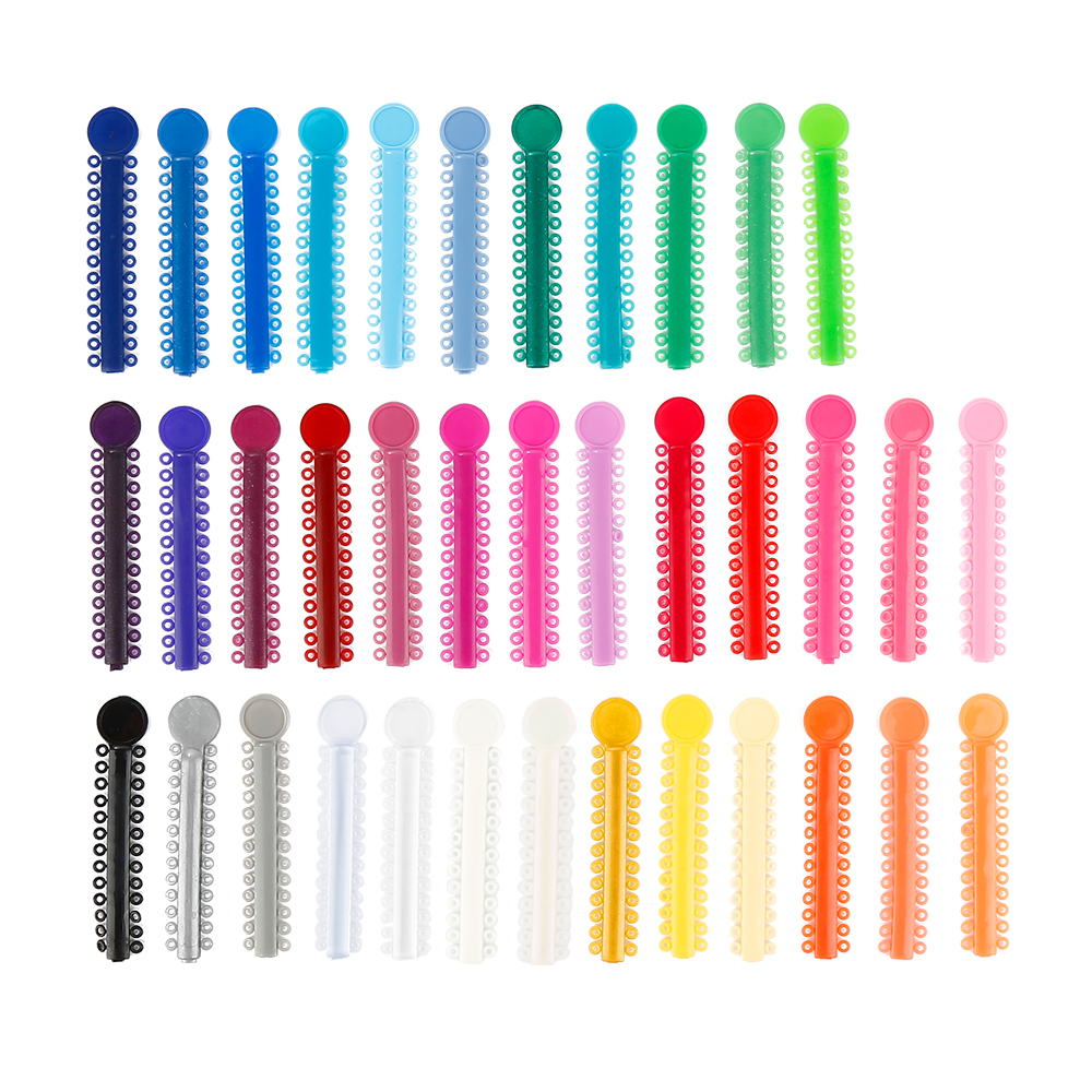 40 Sticks/Pack Dental Orthodontic Ligature Ties Elastomeric 6cm X 1.2cm Colorful Elastic O-rings Braces Rubber Bands Tools
