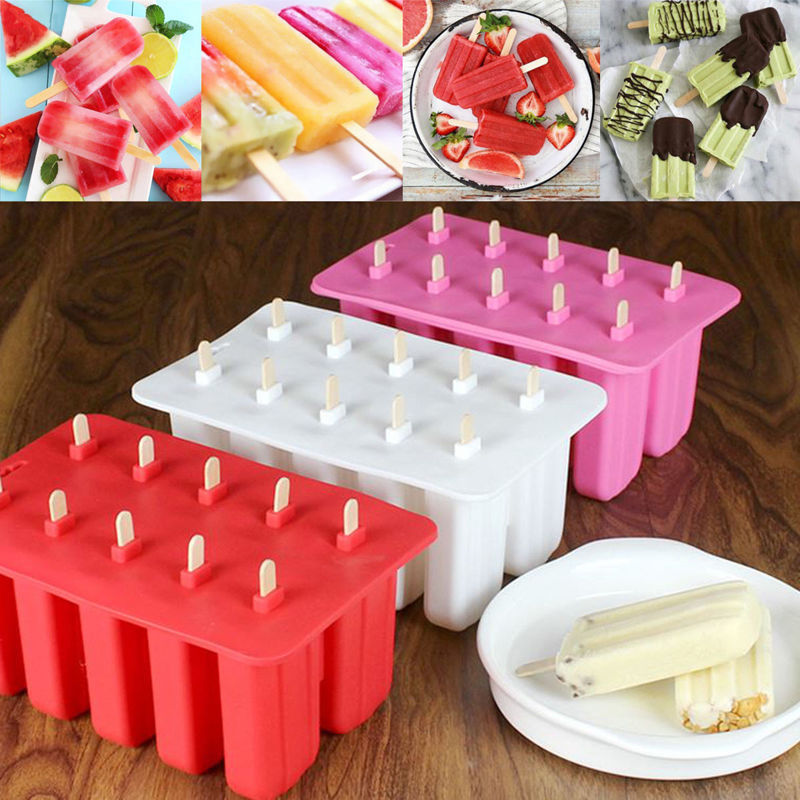 10 Cell Frozen Ice Cream Pop Mold Popsicle Maker Lolly Mould Ice Tray +12 Sticks
