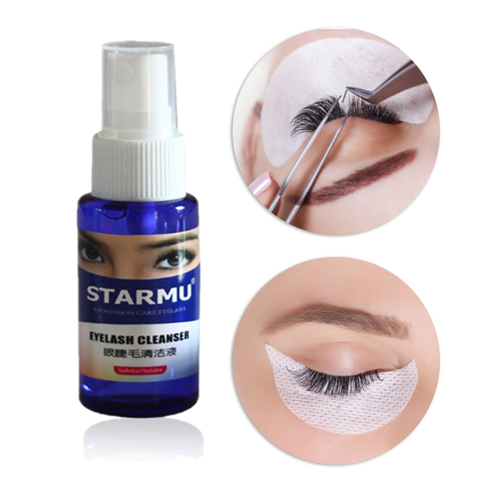 30ml/bottle Eyelash Cleaner Primer For False Eyelash Extension Remove Oil Clean Eyelash Liquid Cleanser Tool Home Salon Use