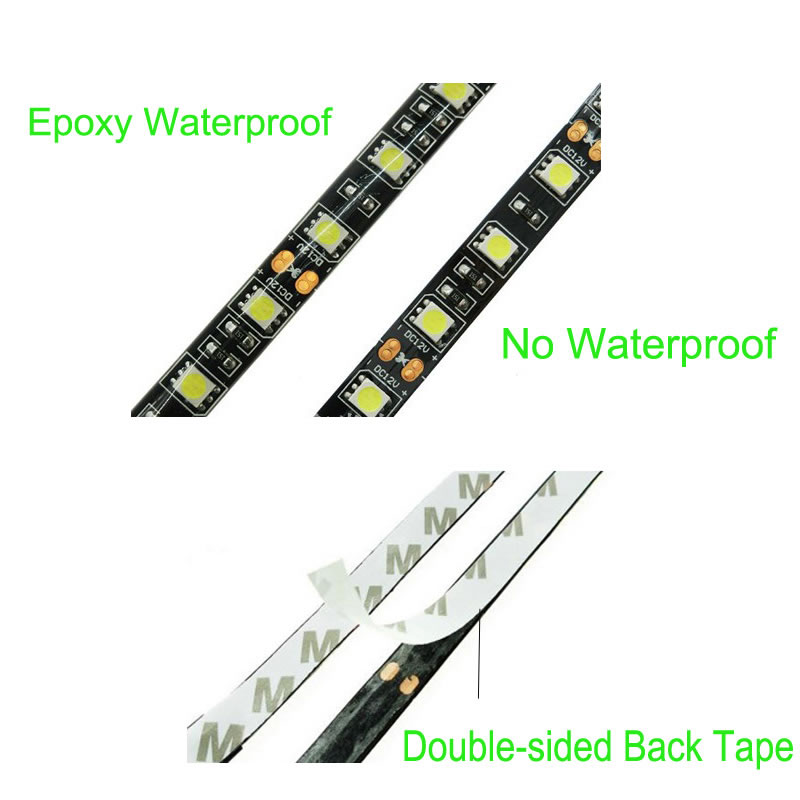 LED Strip 5050 DC12V IP65 Waterproof 60LED m 5m 300LED RGB White Warm White LED flexible light Diode Tape With Black PCB Board in LED Strips from Lights Lighting