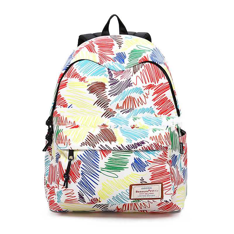 Brush doodle Canvas women Backpack Casual Daily Girls backpack Teenager Travel backpack 2 sizes Lightweight girls should bag
