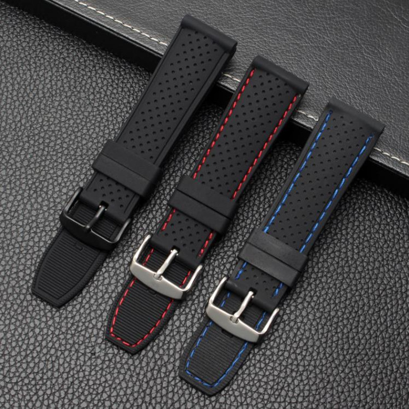 22mm Soft Silicone Watch Strap Belt Waterproof Breathable Wristband for Summer Outdoor Sports Sweatproof Watch Bands Accessories