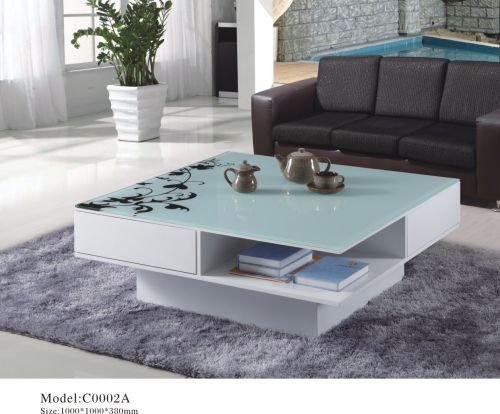 Tea table Glass coffee table High-end fashion tempered glass coffee table