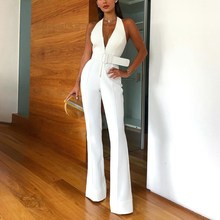 Elegant Women Office White Casual Jumpsuit Sexy V Neck Sleeveless Rompers Belted Backless Long Overalls
