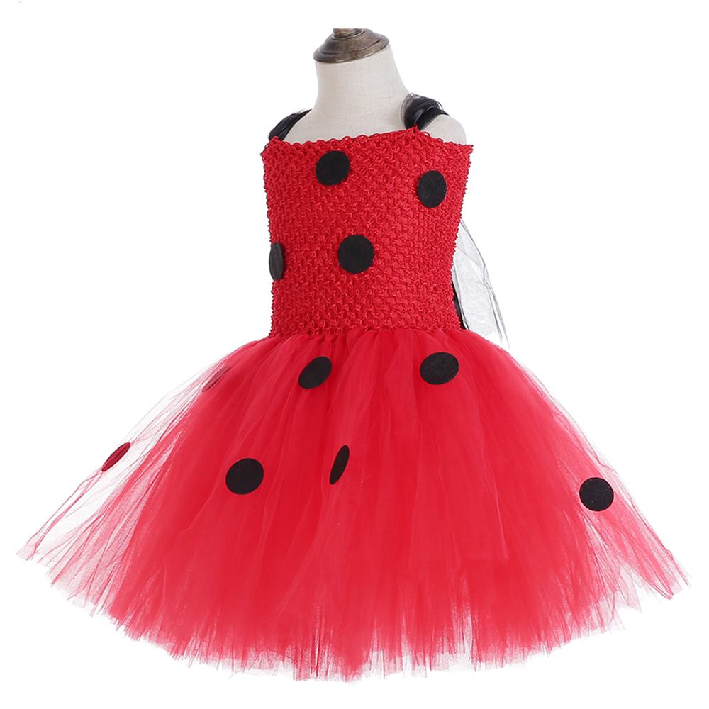 Red Ladybug Party Tutu Dress Kids Clothes Spring Knee Length Black Dot Dress Halloween Ladybug Costume with Ladybug Mask Bag 12Y (4)