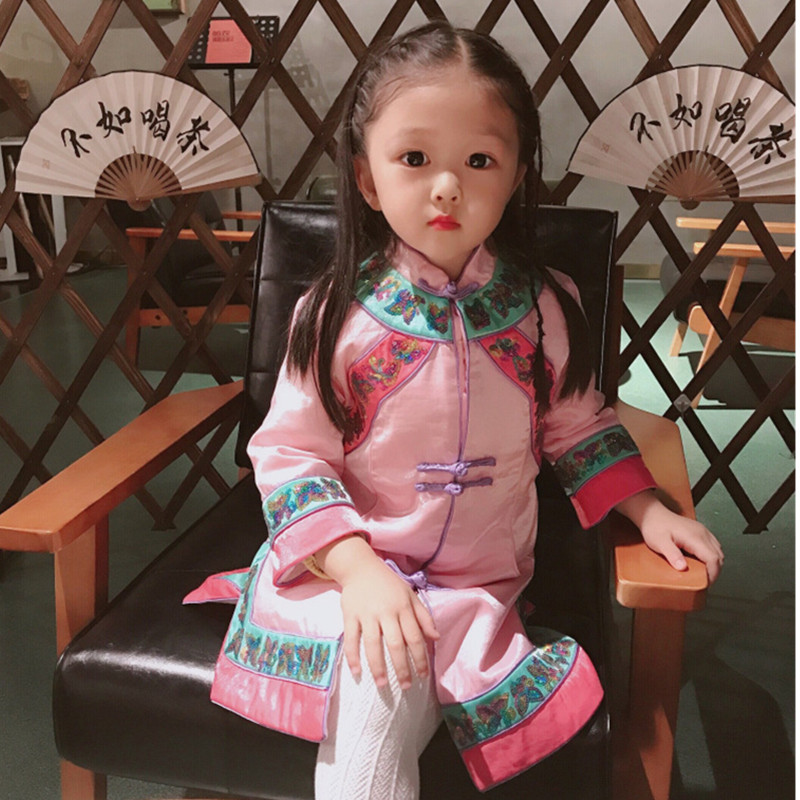 цена Girls dresses China style embroidered sequin floral pattern cotton-padded warm dress boutique baby girls dresses