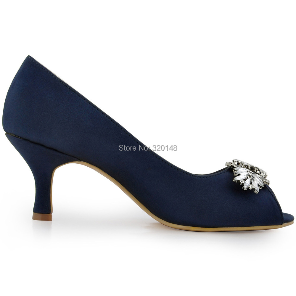 Woman Shoes Wedding Bridal Mid Heel Navy Blue Peep Toe Rhinestone Satin  Lady Bridesmaid Bride Prom Evening Party Pumps HP1540-in Women s Pumps from  Shoes on ... f9d774efede9