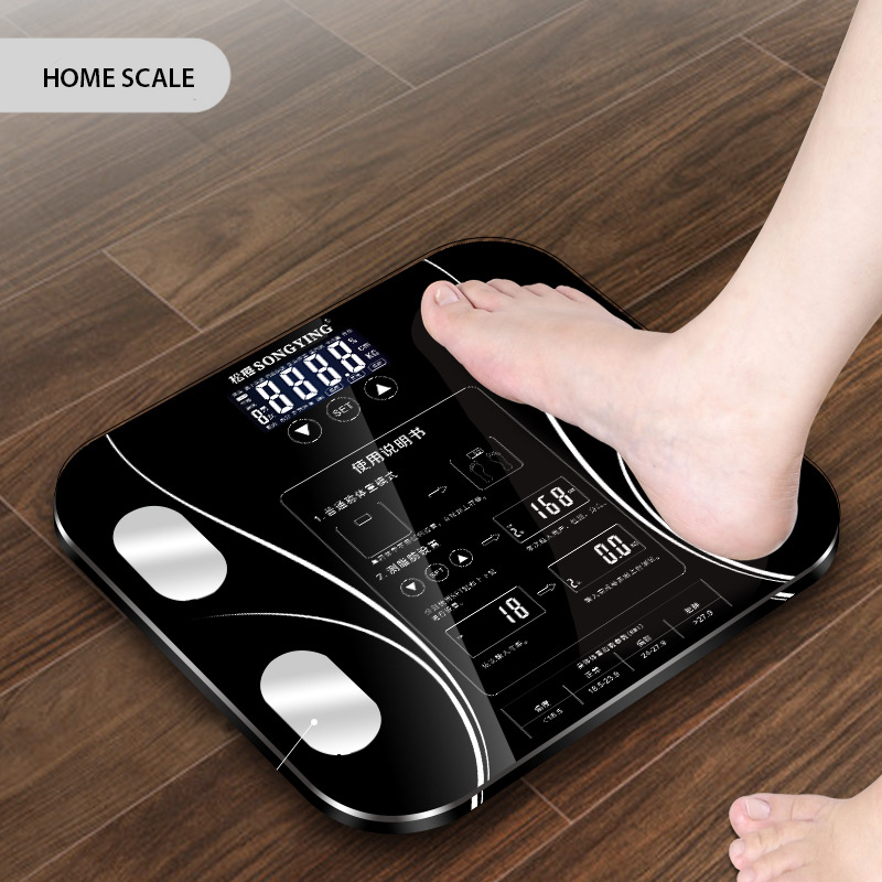 Bmi Scale Lcd-Display Smart-Weighing-Scales Floor Human-Weight Body-Fat Digital Bathroom title=