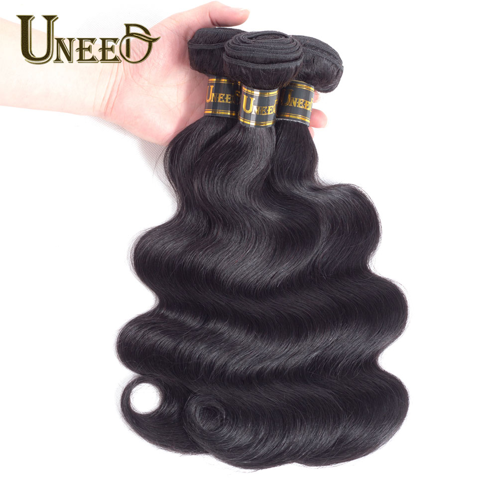 Uneed Hair Malaysian Body Wave Hair Bundles 8 to 26 inches Human Hair Extension Remy Hair Weave Can Buy 3 or 4 Bundles and Mixed
