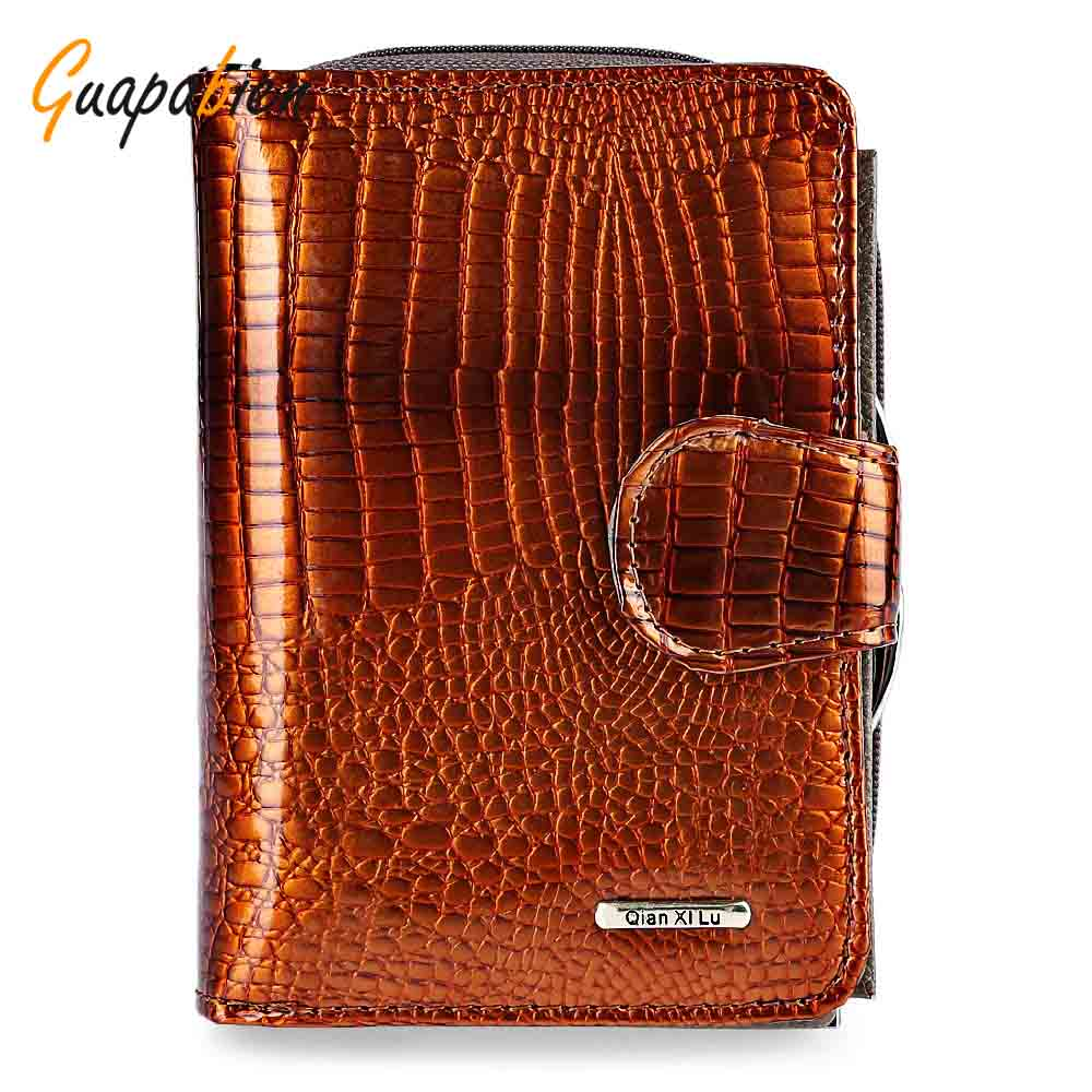 Guapabien Bright Color Patent Leather Women Wallets Multi-Functional Short Wallet 2017 Fashion Hasp Zipper Simple Wallet Ladies guapabien casual bear pattern hasp design large storage wallet for women