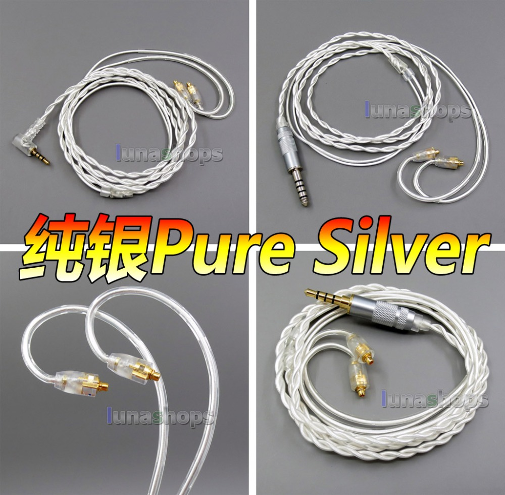 4.4mm 3.5mm 2.5mm balanced Pure Silver Shielding Earphone Cable For MMCX Plug Shure se535 se846 se215 Earphone cable areyourshop 5pair earphone pin plug for shure ed5 se535 carbon fiber mmcx rhodium plated silver