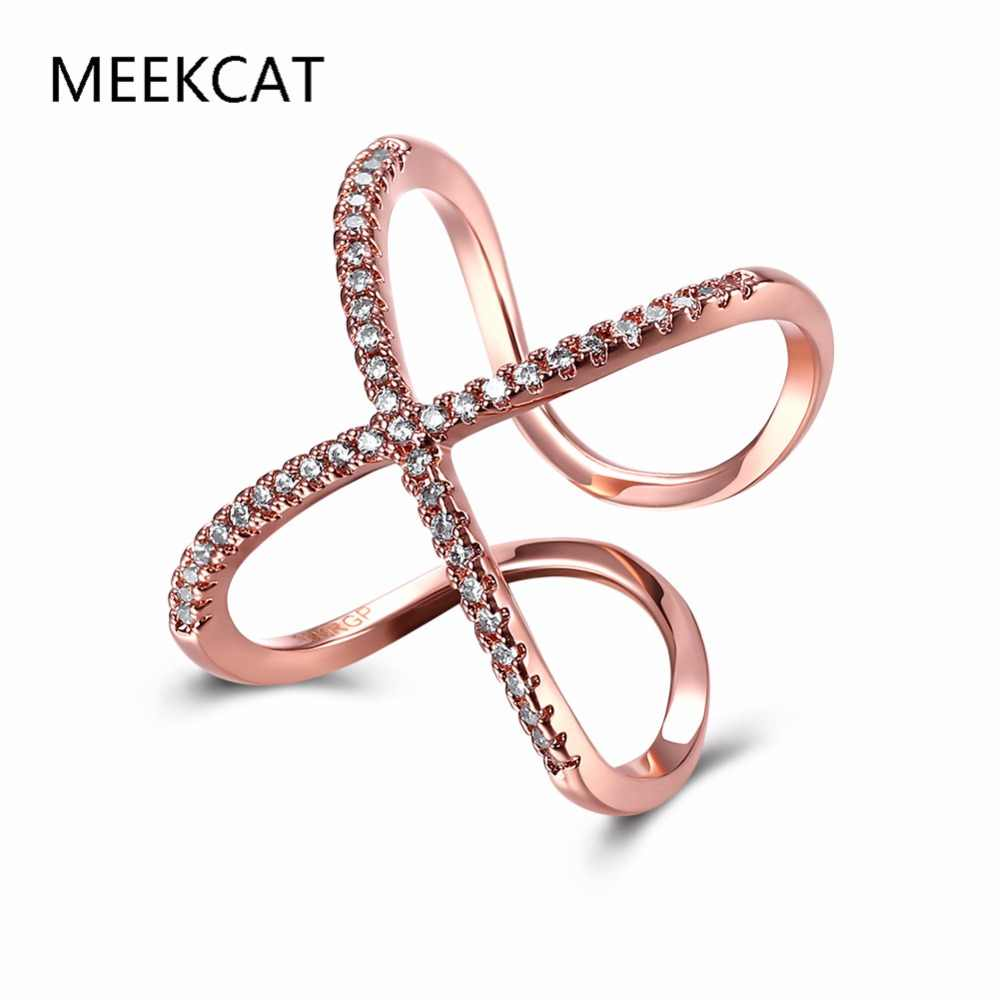 Mode croix X forme redimensionnable anneaux pour femmes zircone Micro pavé or Rose et argent plaqué bijoux pour cadeaux de noël