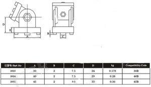 Image 4 - 2020/3030/4040/4545 çinko alaşım oturma menteşe alüminyum profil bağlantı parçaları dik açı çinko alaşım esnek Pivot bağlantı konnektörü