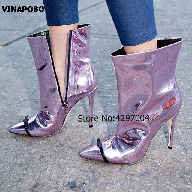 Vinapobo offre spéciale chaussures en cuir verni femmes miroir bout pointu mince talons hauts papillon noeud bottines fête courte dame botte