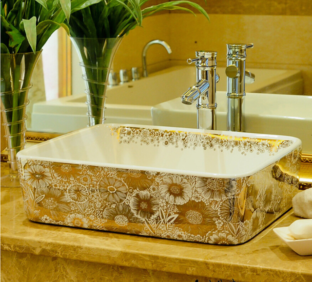 Rectangular Bathroom Lavabo Ceramic Counter Top Wash Basin Cloakroom - Bathroom glazing