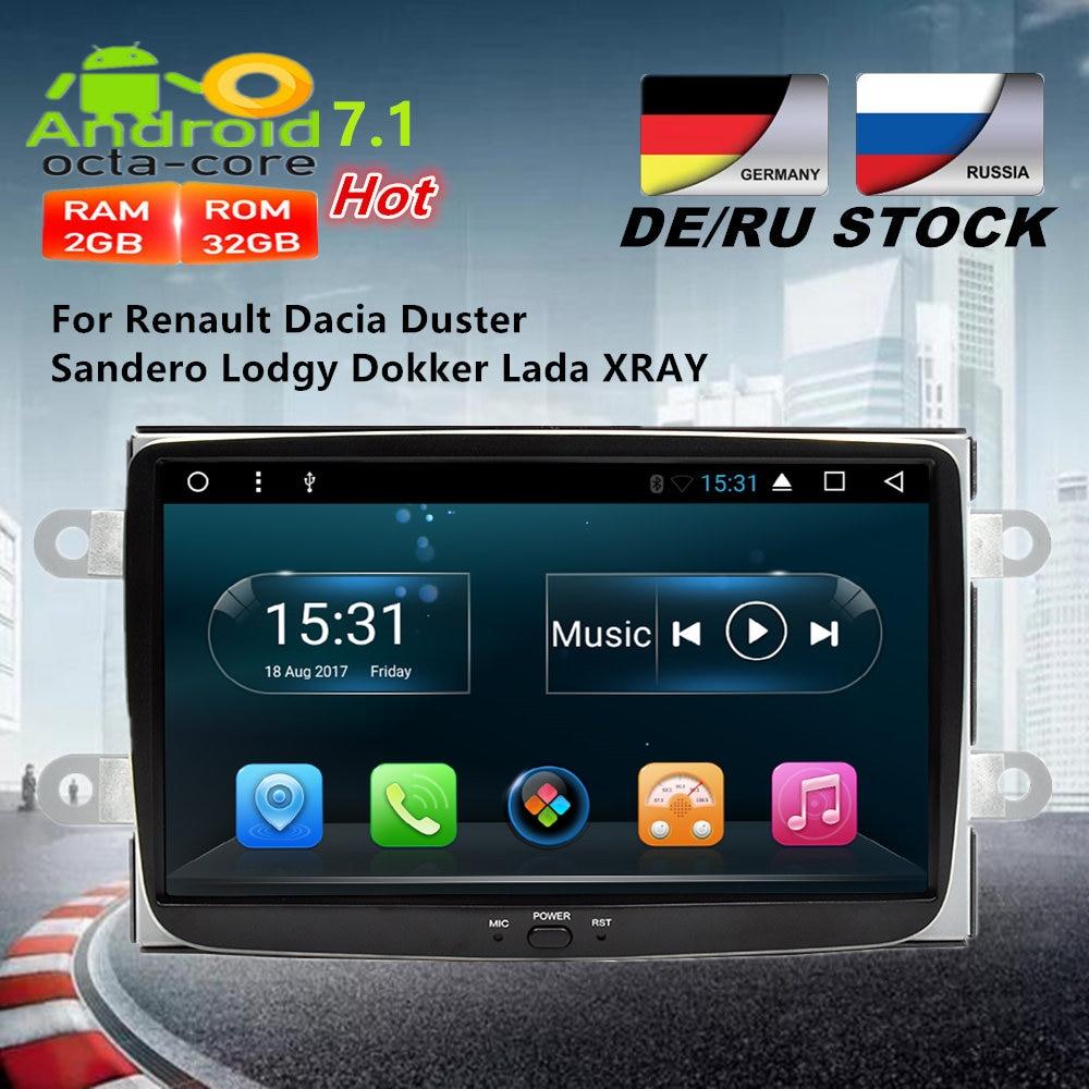 Octa Core Android 7.1 Car Radio GPS Navigation Multimedia Stereo For Renault Dacia Duster Sandero Lodgy Dokker Lada XRAY