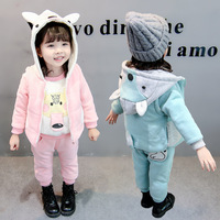 Winter kids clothes sets Cashmere thickening Keep warm cotton 3D Cartoon boy girl Plus thick velvet 3PCS baby clothes clothing