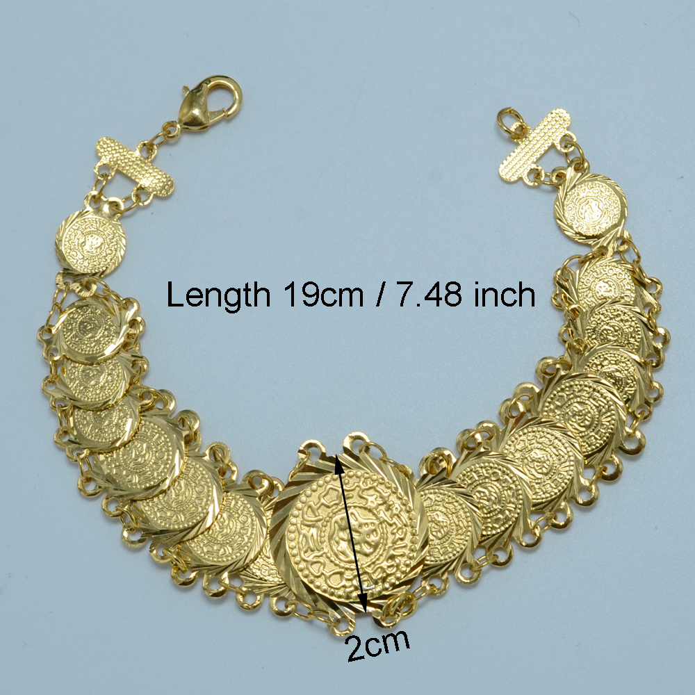 Anniyo 19cm Metal Coin Bracelet Women Gold Color Arab Bracelet ...