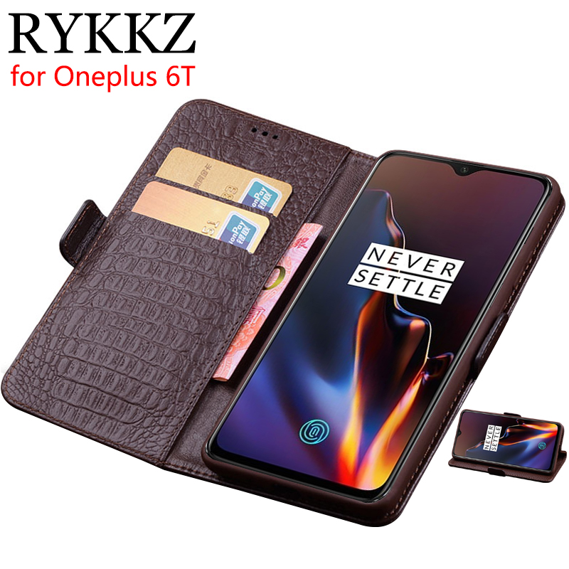 RYKKZ Case For Oneplus 6T Luxury Wallet Genuine Leather Case For Oneplus 6T 6 Stand Flip Card Hold Phone Book Cover Bags CaseRYKKZ Case For Oneplus 6T Luxury Wallet Genuine Leather Case For Oneplus 6T 6 Stand Flip Card Hold Phone Book Cover Bags Case